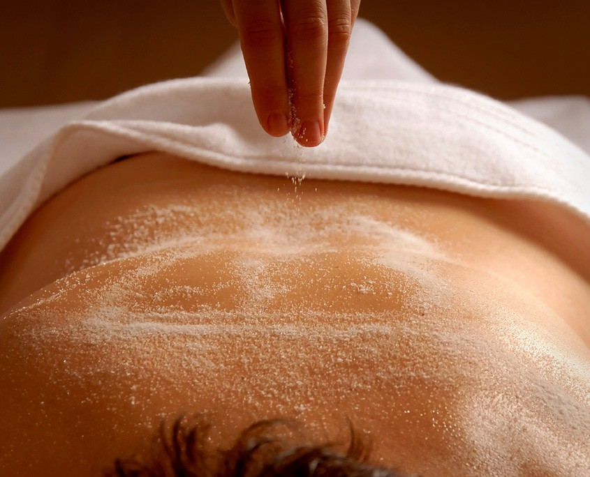 Salt scrub on a back